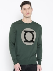 DC Comics Men Green Patterned Sweater