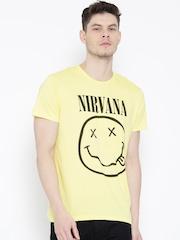 Nirvana Men Yellow Printed Round Neck T-shirt