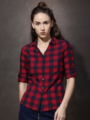 Roadster Women Red & Navy Checked Casual Shirt