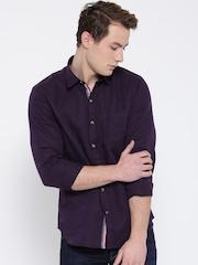 John Players Men Aubergine Trim Fit Solid Casual Shirt