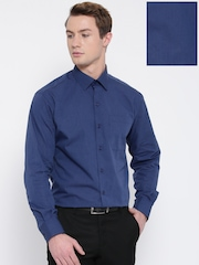 John Players Men Blue Solid Formal Shirt