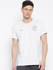 Adidas Men Off-White Real GR BST Solid Round Neck T-shirt