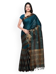 Rajesh Silk Mills Teal Blue Striped Kanjeevaram Handloom Silk & Cotton Traditional Saree