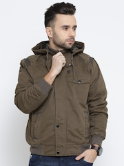 John Players Olive Green Bomber Jacket with Detachable Hood