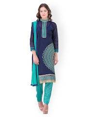 Blissta Navy & Sea Green Chanderi Unstitched Dress Material
