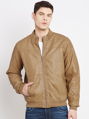 John Players Mustard Brown Faux Leather Bomber Jacket