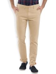 LOCOMOTIVE Men Beige Solid Slim Fit Chino Trousers