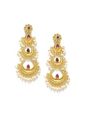 Fabindia Anusuya Gold-Toned Silver Embellished Handcrafted Drop Earrings