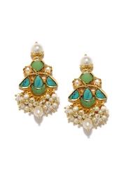 Fabindia Anusuya Green & White Gold-Plated Silver Embellished Drop Earrings