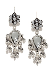 Fabindia Anusuya Oxidised Silver Embellished Handcrafted Drop Earrings