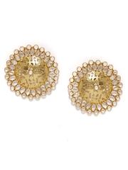Fabindia Anusuya Gold-Toned Silver Oversized Stud Earrings