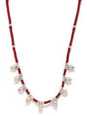 Fabindia Amna Red & Silver-Toned Necklace