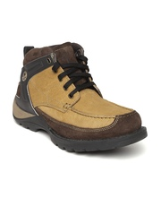 Woodland Men Beige Solid Nubuck Leather Mid-Top Flat Boots