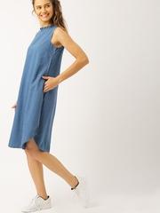 DressBerry Women Blue Denim A-Line Dress
