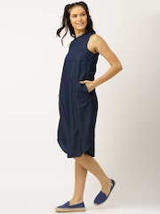 DressBerry Blue Solid A-Line Denim Dress