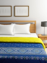 SPACES Navy & Lime Green Reversible Ethnic Print AC Double Quilt (Comforter)