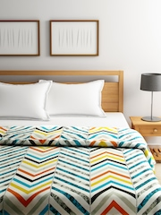 WELHOME Multicoloured Printed AC Double Quilt (Comforter)