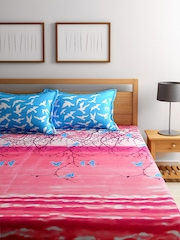 SPACES Pink Cotton 200 TC Fine Double Bedsheet with 2 Pillow Covers