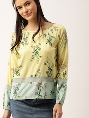 DressBerry Women Yellow Printed Top