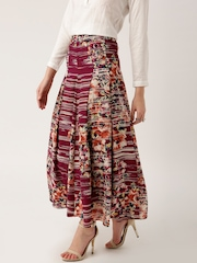 all about you from Deepika Padukone Burgundy Floral Print Flared Maxi Skirt