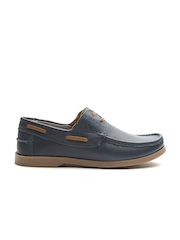 United Colors of Benetton Men Navy Solid Leather Boat Shoes