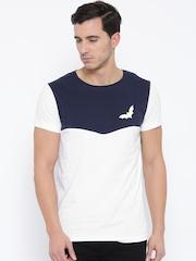 MR BUTTON Men White Colourblocked Round Neck T-shirt