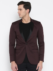 MR BUTTON Burgundy Structured Fit Single-Breasted Casual Blazer