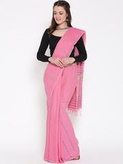 Drama Sisters Pink Self-Striped Khadi Murshidabadi Traditional Saree