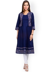Tissu Women Blue Solid Anarkali Kurta