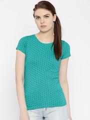 Jealous 21 Women Green & Navy Polka Dot Print Top
