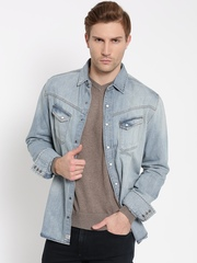 H.E. By Mango Men Blue Slim Fit Washed Denim Shirt