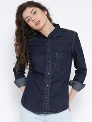 MANGO Women Navy Solid Denim Shirt