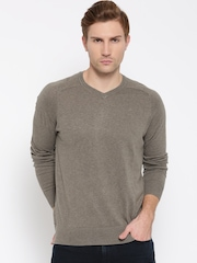 H.E. By Mango Men Taupe Solid Sweater