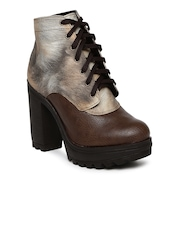 Knotty Derby Women Brown Colourblocked Heeled Boots