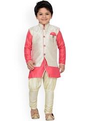 Aj DEZInES Boys Cream-Coloured & Pink Kurta Pyjama with Nehru Jacket
