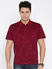 Park Avenue Men Maroon Printed Polo T-shirt