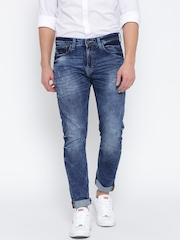 United Colors of Benetton Men Blue Carrot Slim Fit Mid-Rise Clean Look Jeans