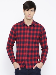 united colors of benetton men red slim checked flannel shirt - United Color Of Benetton