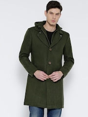 Fort Collins Olive Green Longline Coat with Detachable Hood