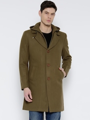 Fort Collins Olive Brown Longline Coat with Detachable Hood