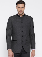 Wills Lifestyle Charcoal Grey Single-Breasted Formal Blazer