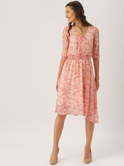 DressBerry Women Pink Printed Fit & Flare Dress