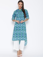 Jashn Women Blue & Green Printed Straight Kurta