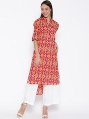 Jashn Women Pink & Yellow Printed Straight Kurta