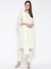 Jashn Off-White Embroidered Unstitched Dress Material