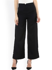 SASSAFRAS Women Black Solid Smart Fit Flat-Front Trousers