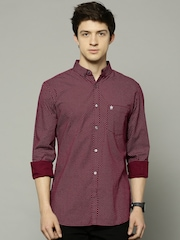 French Connection Men Maroon Slim Fit Printed Casual Shirt