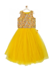 A.T.U.N. All Things Uber Nice Girls Yellow Embroidered Lehenga Choli with Dupatta