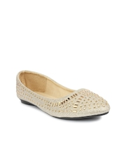 Shoetopia Women Gold-Toned Pointed-toe Embellished Flat Shoes