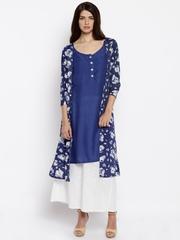 Jashn Women Blue Floral Print Layered Straight Kurta